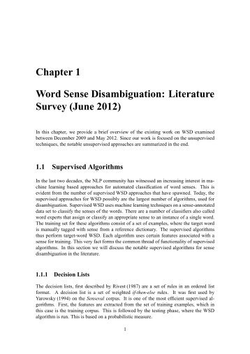 Chapter 1 Word Sense Disambiguation: Literature Survey ... - cfilt