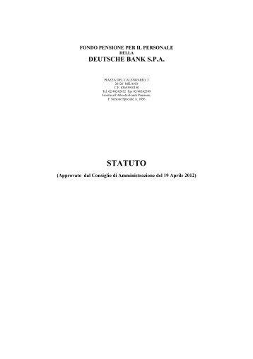 statuto come modificato da cda 19 aprile 2012 - Fondo Pensione DB