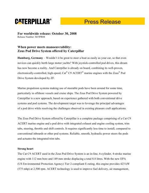 News Press Release - Marine Engines Caterpillar