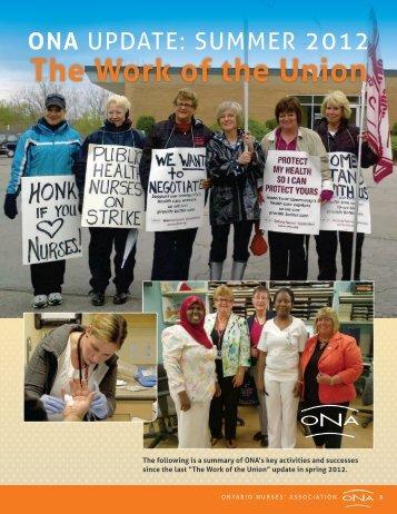 The Work of the Union - Summer 2012 - Ontario Nurses' Association