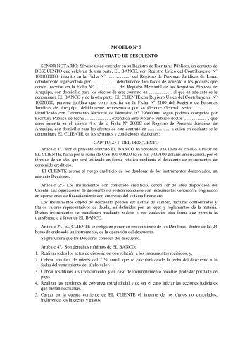 MODELO Nº 5 CONTRATO DE DESCUENTO SEÑOR NOTARIO ...
