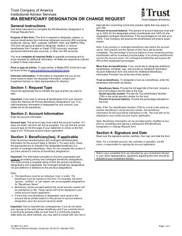 IRA Designation or Change of Beneficiary Form for ... - CIT Bank