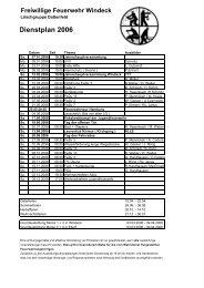 Dienstplan 2006 - Feuerwehr Windeck