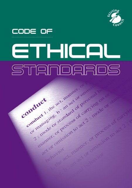 Code of Ethical Standards - Stirling Council