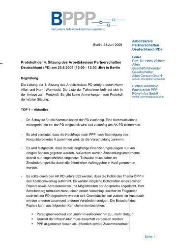 Protokoll 4. Sitzung AK PD am 23 6 2009 - BPPP