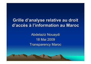 Grille d'analyse Maroc - Transparency