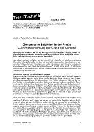 Genomische Selektion in der Praxis - CongressEvents St. Gallen