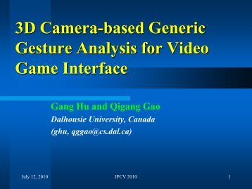 3D Camera-based Generic Gesture Analysis for Video Game Interface
