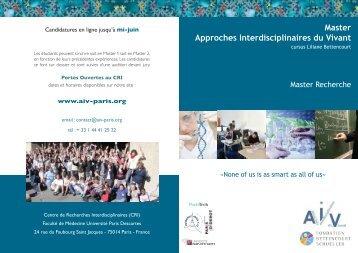Master Approches Interdisciplinaires du Vivant - Université Paris ...