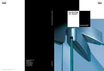 Glas-Beschläge und -Systeme Preisliste 2009