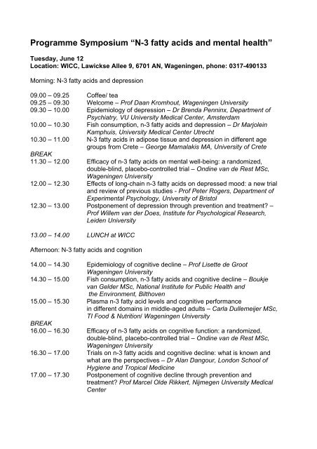 "Programme Symposium ""N-3 fatty acids and mental health"""