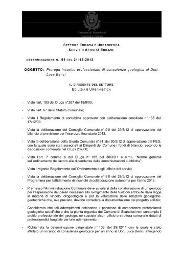 determinazione n.91 del 21.12.2012 - Comune di Scandicci