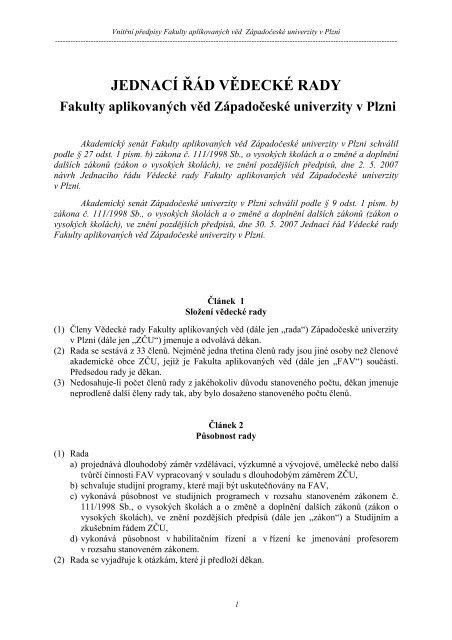 Aktuální znění Jednacího řádu vědecké rady FAV - Fakulta ...