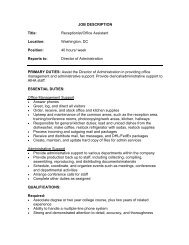 JOB DESCRIPTION Title: Receptionist/Office Assistant Location ...