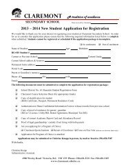 Enrollment Package for 2013-2014 - Claremont Secondary School