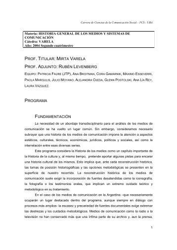 Historia de los medios - Varela - 2004 2 - Carrera de Ciencias de la ...