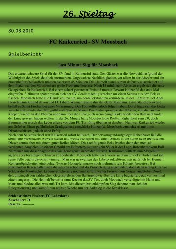 FC Kaikenried - SV Moosbach