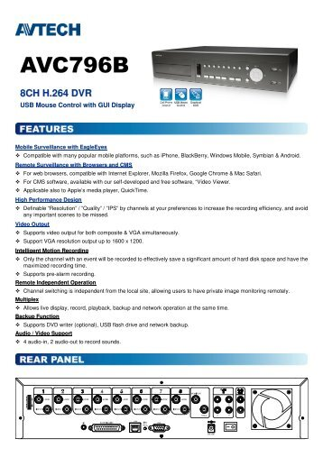 Product catalogue for AVC796B Digital Video Recorder