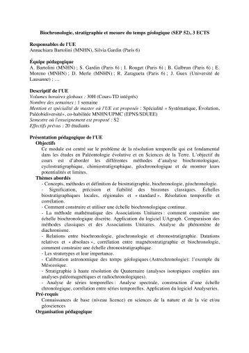 Biochronologie, stratigraphie et mesure du temps géologique ... - LIS