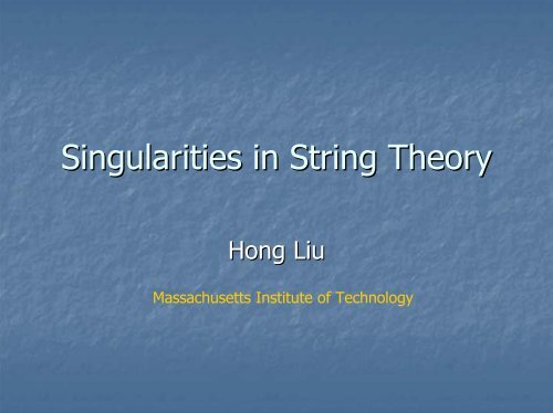 Singularities in String Theory