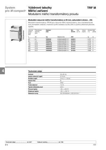 Katalog měřicí transformátory proudu - VAE ProSys sro