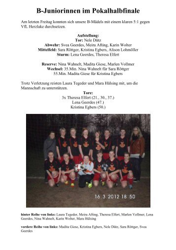 B-Juniorinnen im Pokalhalbfinale - SV Listrup