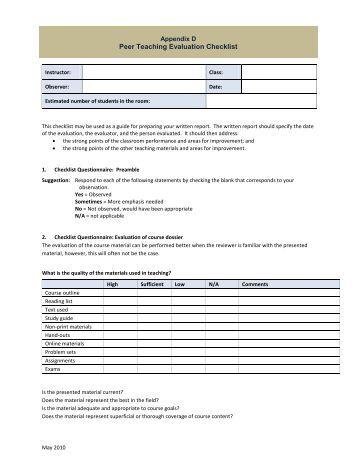 lesson observation checklist evaluation form 1 general