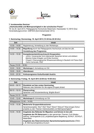 18. bis 20. April 2013, Pädagog - Pädagogische Hochschule ...