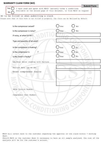WARRANTY REGISTRATION FORM (W1) DEALER: - MACS