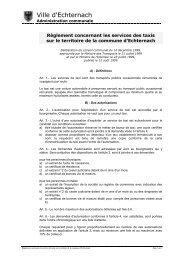 Règlement concernant les services des taxis - Echternach