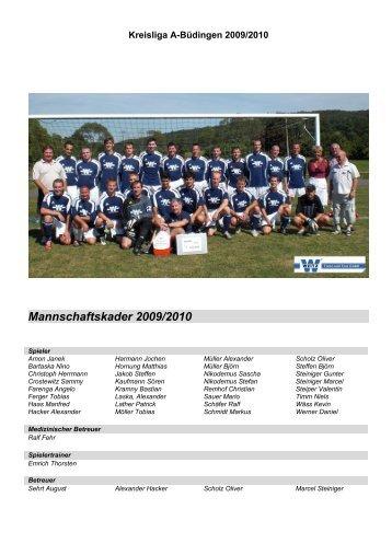 Mannschaftskader 2009/2010 - SV Lißberg