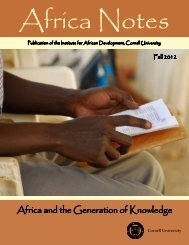 Africa and the Generation of Knowledge - Institute for African ...