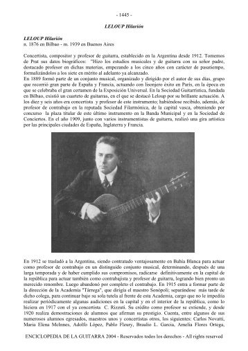 Enciclopedia de la Guitarra - letra L - Just Classical Guitar Club