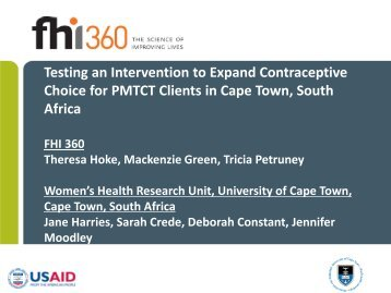 Testing an Intervention to Expand Contraceptive Choice for PMTCT ...