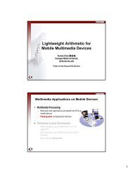 Lightweight Arithmetic for Mobile Multimedia Devices