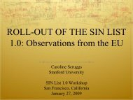 Roll-Out of the SIN List 1.0: Observations from the EU