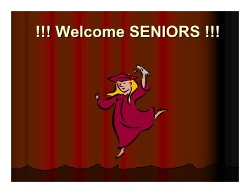 !!! Welcome SENIORS !!! - duPont Manual High School