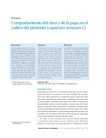 Comportamiento del virus y de la papa en el cultivo del pimiento ...