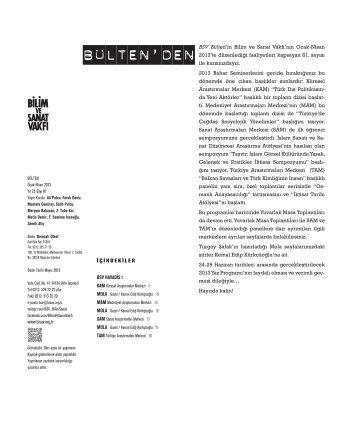 bülten 81 (pdf) - Bilim ve Sanat Vakfı