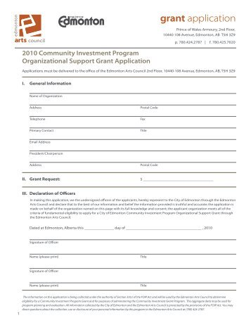 Project Support Grant Application   The Arts Council