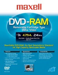 DVD-RAM Removable Cartridge - Maxell Canada