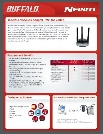Wireless-N USB 2.0 Adapter - WLI-U2-G300N - Buffalo
