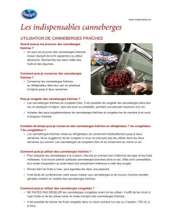 Les indispensables canneberges - Ocean Spray
