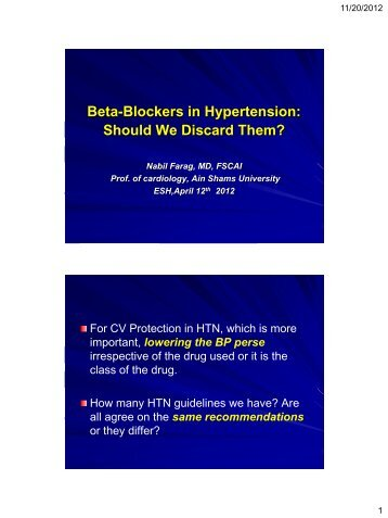 Beta-Blockers in Hypertension: - RM Solutions