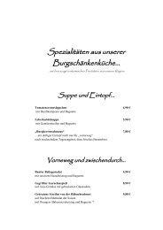 Speisekarte Burgschänke - Meininger Hotels mit Flair