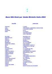 Nuovi Bib Hotel per Guida Michelin Italia 2004