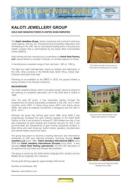 Kaloti Jewellery Group Gold Bars