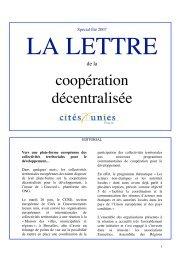 La Lettre Spécial Eté 2007 - Cités Unies France