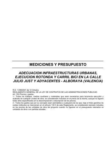 MEDICIONES Y PRESUPUESTO - Alboraya