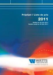 Prijslijst / Liste de prix 2011 - WATTS industries